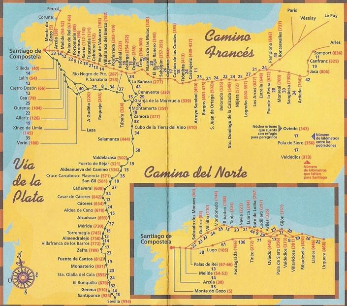 Camino Map SHOW ME THE CAMINO